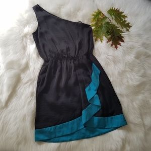 BCBGeneration Black Teal One Shoulder Wrap Dress